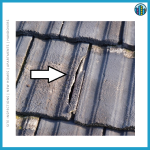 Crack in roof tiles
